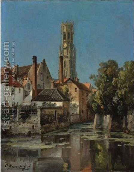 View Of A Moated Town by Charles Euphraisie Kuwasseg - Reproduction Oil Painting