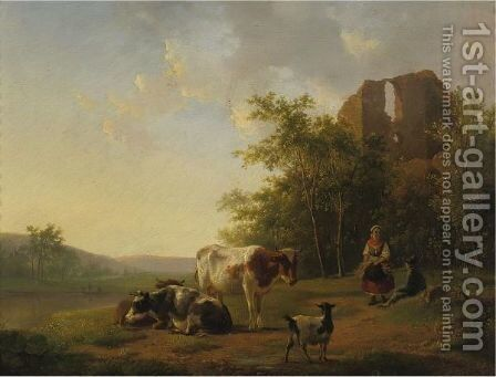 Shepherds And Cattle Resting By A Stream by Hendrikus van den Sande Bakhuyzen - Reproduction Oil Painting