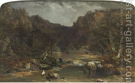 Extensive View Of A River Gorge by Charles Branwhite - Reproduction Oil Painting