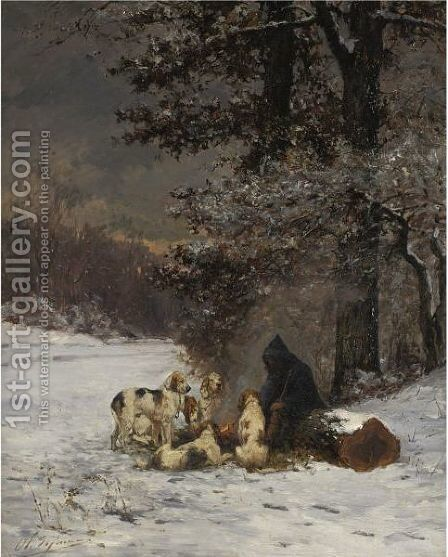 A Warm Break From The Hunt by Charles Olivier De Penne - Reproduction Oil Painting