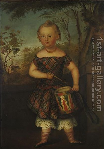 Boy In Plaid Costume Playing A Painted Drum by American School - Reproduction Oil Painting