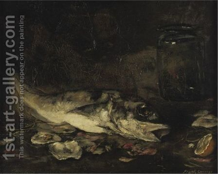 Still Life With Fish And Oranges by J. Frank Currier - Reproduction Oil Painting
