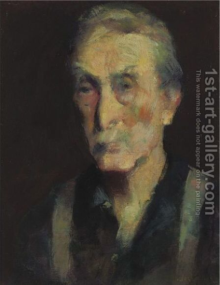 Head Of An Old Man by American School - Reproduction Oil Painting