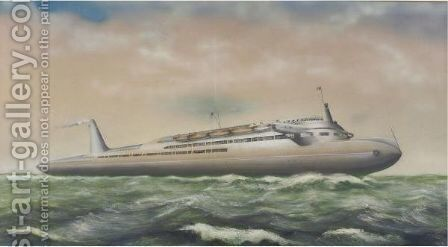Design For A Modernist Ocean Liner by American School - Reproduction Oil Painting