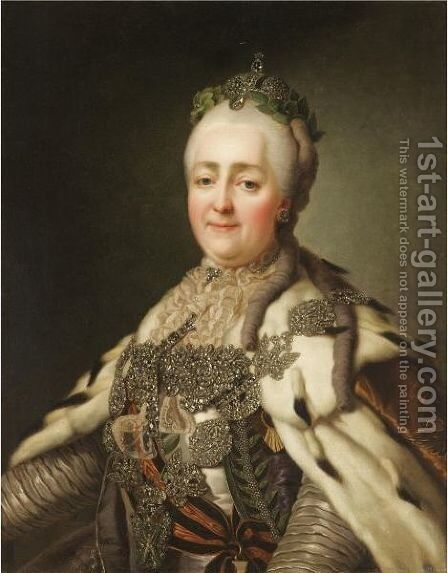 Portrait Of Catherine II by (after) Alexander Roslin - Reproduction Oil Painting