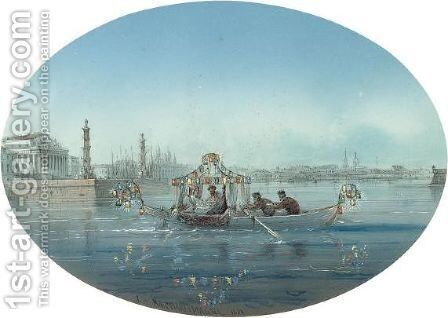 Russian Bridal Party Crossing The Neva by Adolf Jossifowitsch Charlemagne - Reproduction Oil Painting