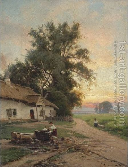 At The Well by Iosif Evstafevich Krachkovsky - Reproduction Oil Painting