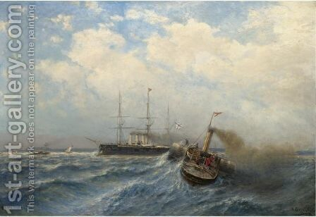 Taking The Pilots On Board by Aleksei Petrovich Bogoliubov - Reproduction Oil Painting