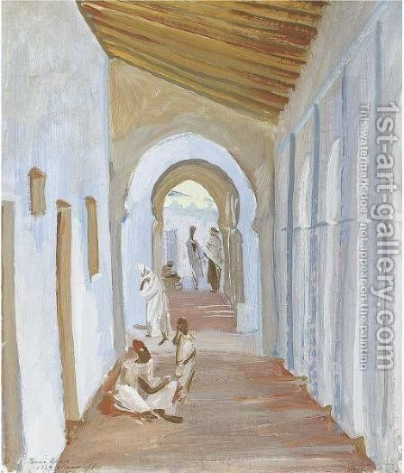 Figures In A Portico, Algeria by Alexander Evgenievich Yakovlev - Reproduction Oil Painting