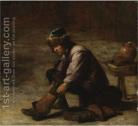 A Young Man Pulling On A Boot by (after)  David The Younger Teniers - Reproduction Oil Painting