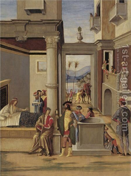 The Life Of Alexander The Great Alexander Taming His Horse by (after) Vittore Carpaccio - Reproduction Oil Painting