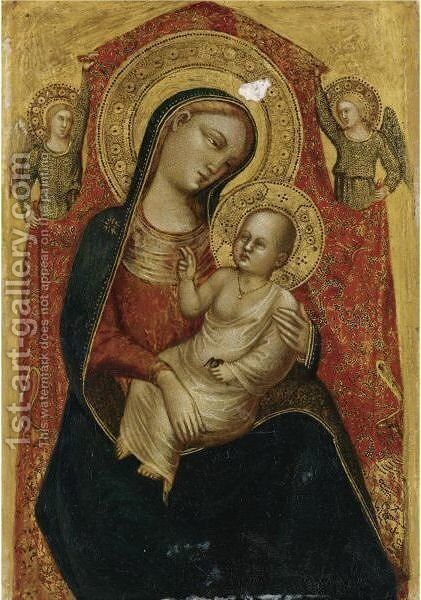 Madonna And Child With Two Angels by Bicci Di Lorenzo - Reproduction Oil Painting