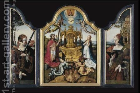 A Triptych Representing The Fountain Of Life by (after) Bruges - Reproduction Oil Painting