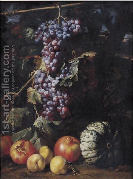Still Life Of A Bunch Of Grapes Hanging From A Twig, Pomegranates by (after) Abraham Brueghel - Reproduction Oil Painting