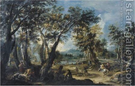 Landscape With A  Stag Hunt by Antonio Stom - Reproduction Oil Painting