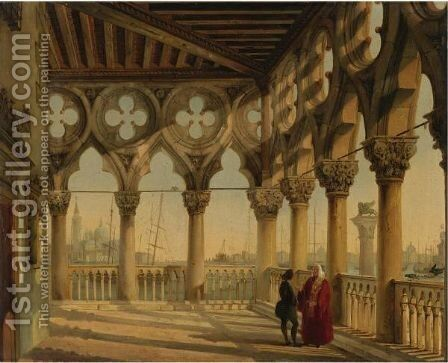 View From The Porch Of The Palazzo Ducale, Venice, Towards San Giorgio Maggiore by Giovanni Migliari - Reproduction Oil Painting
