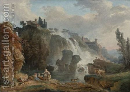 The Cascades At Tivoli With The Temple Of Vesta, Some Figures Resting In The Foreground. by Hubert Robert - Reproduction Oil Painting