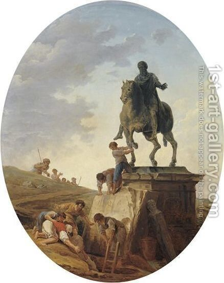 A Capriccio With The Statue Of Marcus Aurelius And Tomb Raiders At Work by Hubert Robert - Reproduction Oil Painting