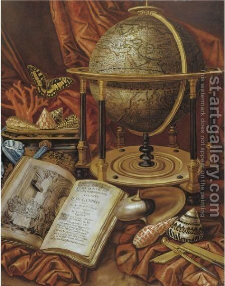Still Life With A Globe, Books, Shells And Corals Resting On A Stone Ledge by (after) Simon Renard De Saint-Andre - Reproduction Oil Painting