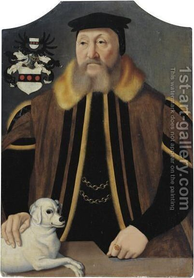 Portrait Of A Gentleman With His Dog by (after) Barthel Bruyn - Reproduction Oil Painting