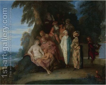 A Scene Inspired By The 'Commedia Dell'Arte' by Claude Gillot - Reproduction Oil Painting
