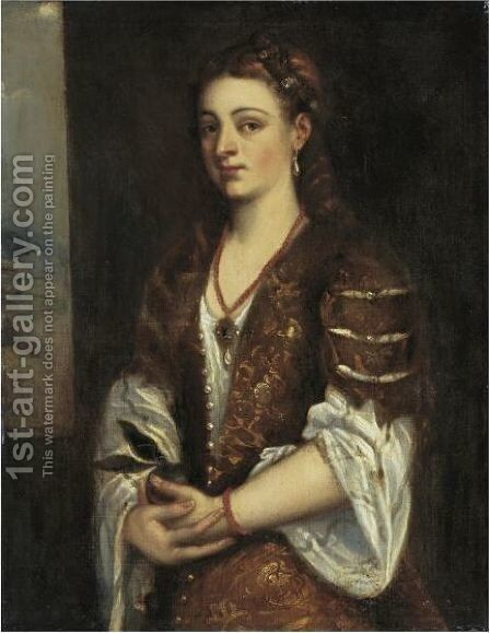 Young Woman Holding An Apple by (after) Tiziano Vecellio (Titian) - Reproduction Oil Painting