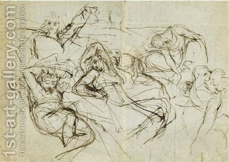 Studies Of Reclining Figures by Johann Henry Fuseli - Reproduction Oil Painting