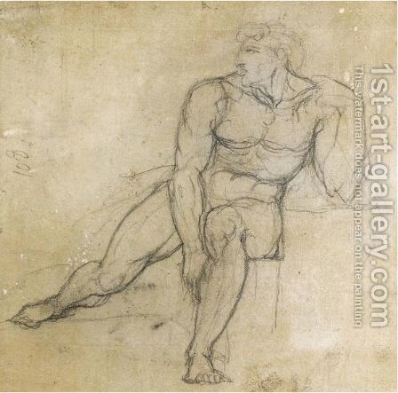 Study Of A Male Nude, Seated by Johann Henry Fuseli - Reproduction Oil Painting