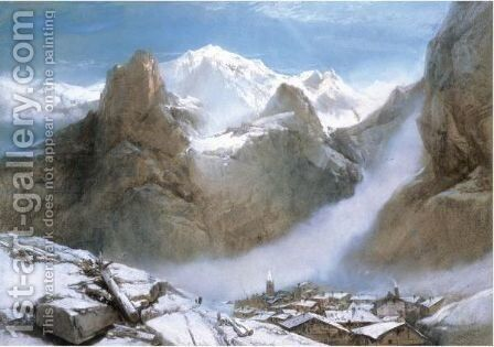 A View Of Mont Blanc by Henry Bright - Reproduction Oil Painting