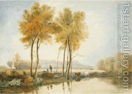 Boys And Cattle On The Banks Of The Thames, Windsor by David Cox - Reproduction Oil Painting