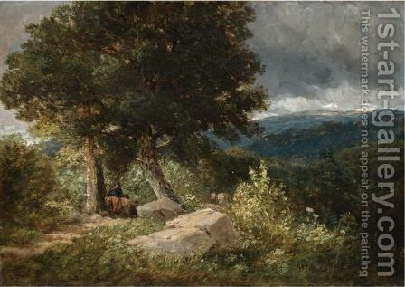 Travellers On The Road To Bettwys-Y-Coed by David Cox - Reproduction Oil Painting