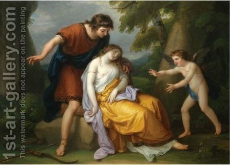 Cephalus With Procris And Cupid by Angelica Kauffmann - Reproduction Oil Painting