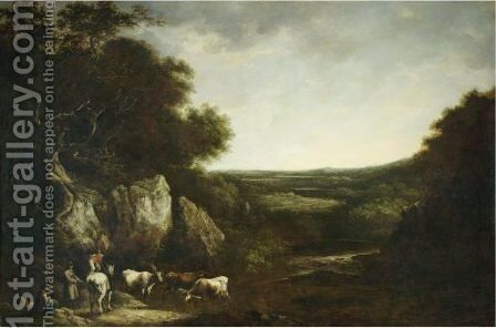Drovers In A Landscape by Benjamin Barker Of Bath - Reproduction Oil Painting