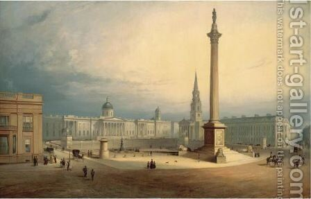 A View Of Trafalgar Square by Charles Deane - Reproduction Oil Painting