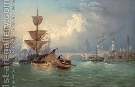 A View Of New London Bridge by Charles Deane - Reproduction Oil Painting