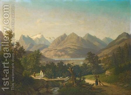 View To Brunnen And Seelisberg With Urirotstock, 1878 by Anton Winterlin - Reproduction Oil Painting