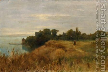 Au Bord Du Lac  At The Lake Side by Gustave Castan - Reproduction Oil Painting