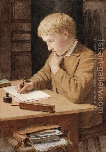 Boy Writing, 1905 by Albert Anker - Reproduction Oil Painting