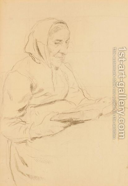Woman Reading The Bible by Albert Anker - Reproduction Oil Painting