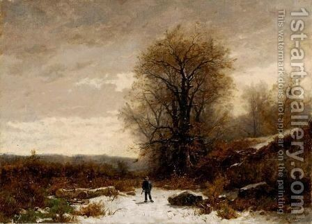 Winter Landscape With Hunter by Gustave Castan - Reproduction Oil Painting