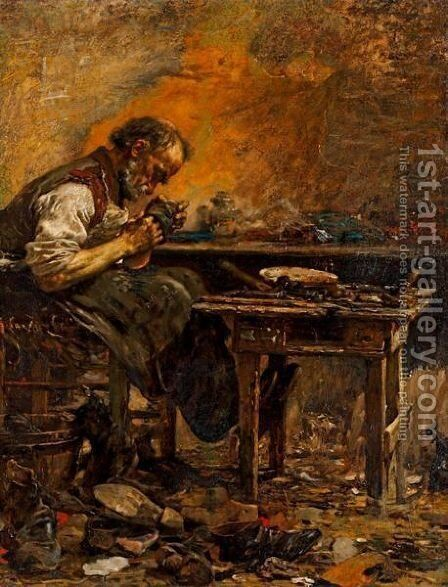 The Cobbler by Giovanni Segantini - Reproduction Oil Painting