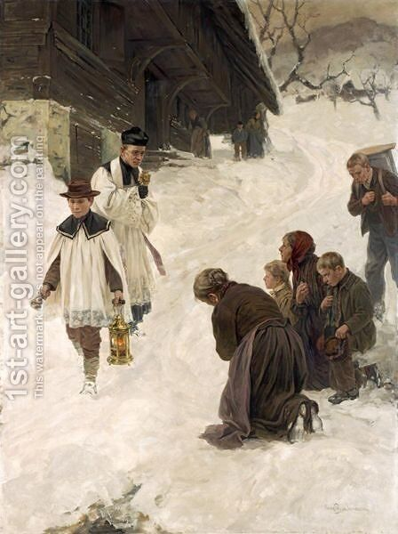 Blessing In The Village by Hans Bachmann - Reproduction Oil Painting