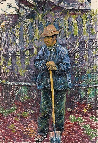 In Spring (Man With A Blade), 1910 by Giovanni Giacometti - Reproduction Oil Painting