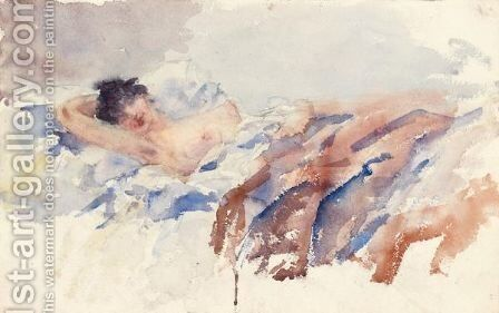 Annetta In Bed by Giovanni Giacometti - Reproduction Oil Painting