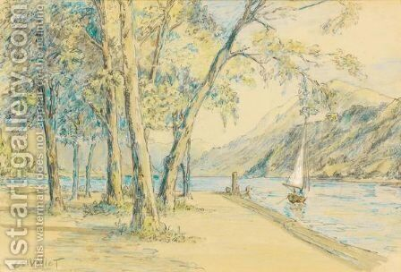 Au Bord Du Lac  At The Lake Side by Edouard Vallet - Reproduction Oil Painting