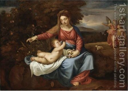Madonna Col Bambino, Tobia E L'Angelo by (after) Alessandro Varotari, Il Padovanino - Reproduction Oil Painting