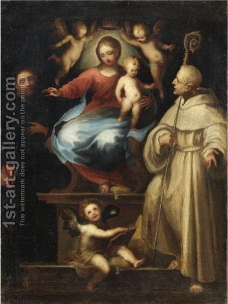 Madonna Col Bambino Tra San Paolo E San Benedetto by (after) Francesco Vanni - Reproduction Oil Painting