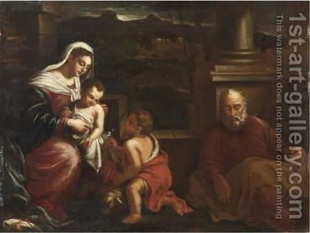 Sacra Famiglia Con San Giovannino by (after) Tiziano Vecellio (Titian) - Reproduction Oil Painting