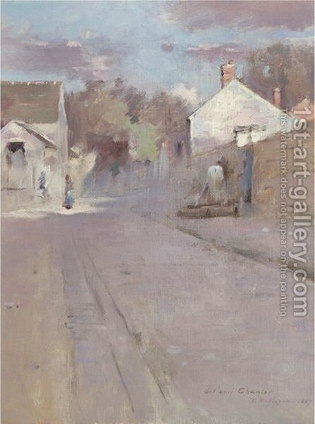 Street In Barbizon, Sunset by Theodore Robinson - Reproduction Oil Painting