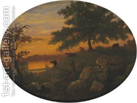 Cattle At Sunset by Albert Bierstadt - Reproduction Oil Painting